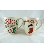 Lenox  Naughty & Nice HOLIDAY set 2 Mugs American by Design Christma Sto... - $24.74