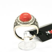 925 Silver Ring Antique with Jasper Red Made in Italy by Maschia image 4