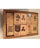 Vintage WOODEN BOX Containing 18  WOODEN NURSERY BLOCKS; Weighs 5 lbs; S... - $19.95