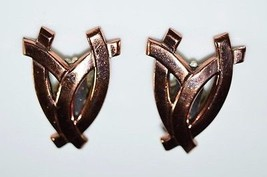 VTG Matisse RENOIR Signed RARE Openwork FAN Abstract Clip Earrings - $39.60