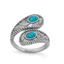 14K White Gold Plated Oval Cut Turquoise Wrap Ring with Adjustable Swirl... - $112.70