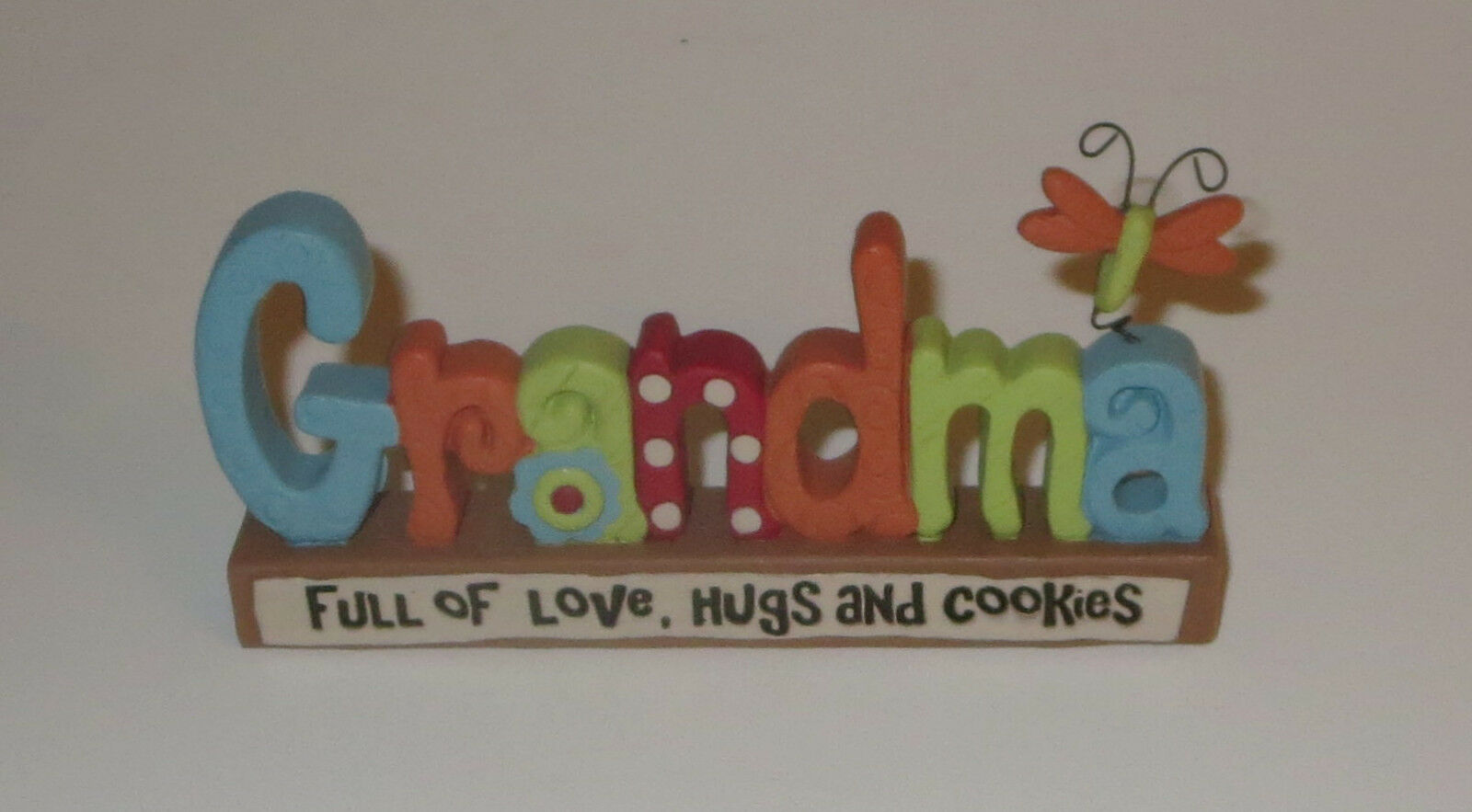 Primary image for Grandma Full of Love Hugs and Cookies Free Standing Sign Butterfly Plaque New