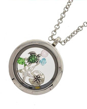 Sea Life Floating Turtle Starfish Charms Locket Fashion Necklace Silver ... - $30.38 CAD