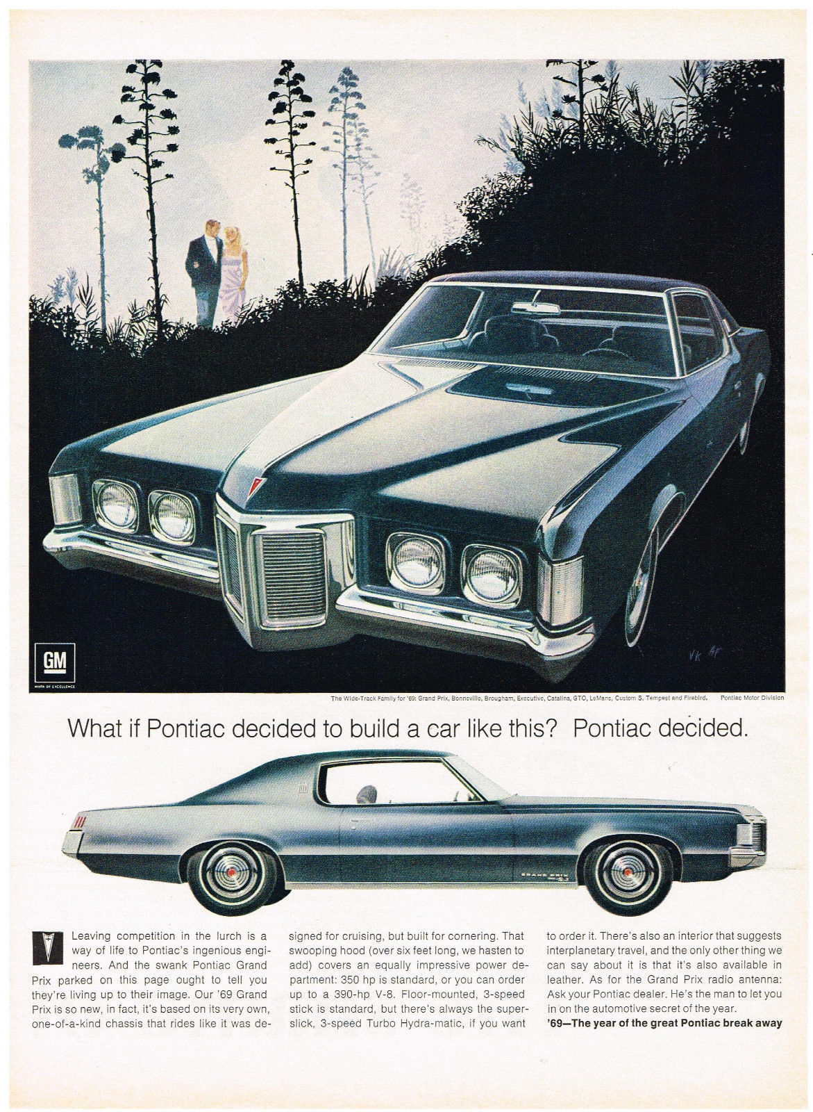 Vintage 1969 Magazine Ad Pontiac Grand Prix On Its Own One-Of-A-Kind Chassis - $5.93