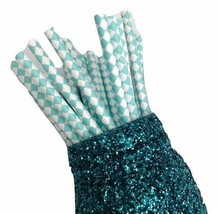 """7.75"""" light teal harlequin print paper straws / 6-25 pieces / party supp... - $1.37 CAD+"""