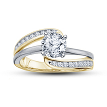 Promise Women's Engagement Ring Diamond Two Tone Plated Pure 925 Sterlin... - $76.88