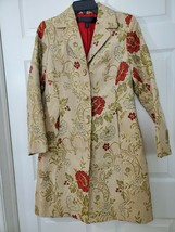 Apostrophe Gold Lining Tapestry Long Button Duster Size 4 0428 - $39.51
