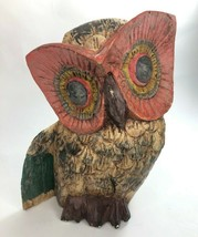"Solid Wood Hand Carved & Painted Owl Statue 10"" tall MCM Design Bohemian - $32.73"