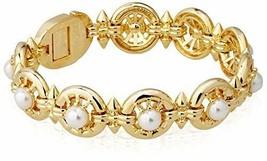 Nuovo nOir Placcato Oro Bastone E Perle Bracciale Appariscente Nwt