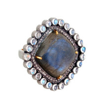 Labradorite/Moonstone 14k Gold Ring Studded Diamond .925 Silver Gemstone... - $467.50