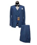 Men Blue Three Piece Suits Designer Party Wear Dinner Wedding Suits - $199.99