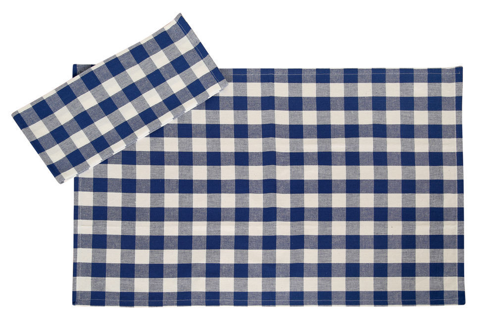 Cotton Kitchen Towels Checkered Blue U0026 White 2/pack