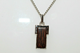 "Vintage 1970's Silvertone AVON Modernist Wood Pendant 20"" Necklace F3 - $12.50"