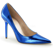 "PLEASER Sexy Shoes Pointed Toe Blue Metallic 4"" Stiletto High Heel Pumps - $46.95"
