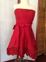 Forever 21 Red Dress Dress Strapless Posie Smocked Back Valentines Sz M ... - $17.82