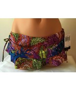 NWT ABS Bikini Hipster Bottom Skirted Ruched Swimsuit Tropical Colorful ... - $18.62