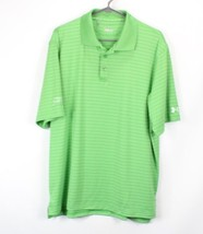 Under Armour Heat Gear Mens Large Short Sleeve Striped Collared Golf Polo Shirt  - $24.70