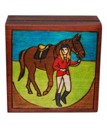 Small Engraved Wooden Keepsake Box Girl with Horse by Enchanted World Bo... - $9.99
