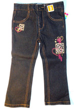 Healthtex Toddler Girls Black Jeans with Leopard Patch Heart Size 3T NWT - $8.82