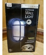 Hampton Bay Exterior Wall Light 240 235 Black Oval, Frosted Ribbed Glass - $18.02