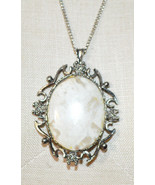 Tan Brown Agate Oval Stone Floral Flower Silver Tone Necklace Pendant Vi... - $24.74