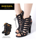 DIESEL Black Gold BEA Size 8.5 Lace Up High Ankle Side Heelss Sandals Sh... - $79.00