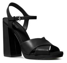 MICHAEL Michael Kors Alexia Platform Block Heel Sandals, Multi Sizes Black Leath - $119.95
