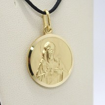 SOLID 18K YELLOW GOLD SACRED HEART OF JESUS 13 MM ROUND MEDAL, MADE IN ITALY image 2
