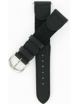 Timex 19mm Black Nylon and Calf Silver Tone Buckle Watch Band TX28419BK - $39.95