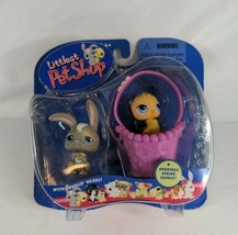 Littlest Pet Shop Bunny Rabbit and Baby Chick in Spring Basket NIB Pet Pairs - $18.99