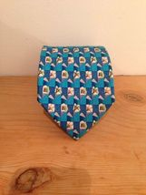 Geoffrey Beene Aqua Blue White Floral Motif Neck Tie Silk image 4