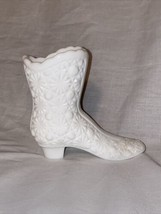 "Vintage Fenton Milk Glass White Boot Daisy and Button 4"" Tall - $16.32"