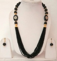 New Indian Gold Plated Black Beads Kundan Fashion Necklace Earrings Jewelry Set - $13.10