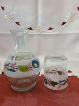 Vintage Flower Clear Glass Hand Painted Nightside Carafe and Tumbler Set image 3