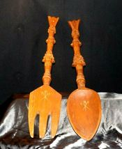 Decorative Wooden Spoon and Fork AA19-1596 Vintage Very Large image 4