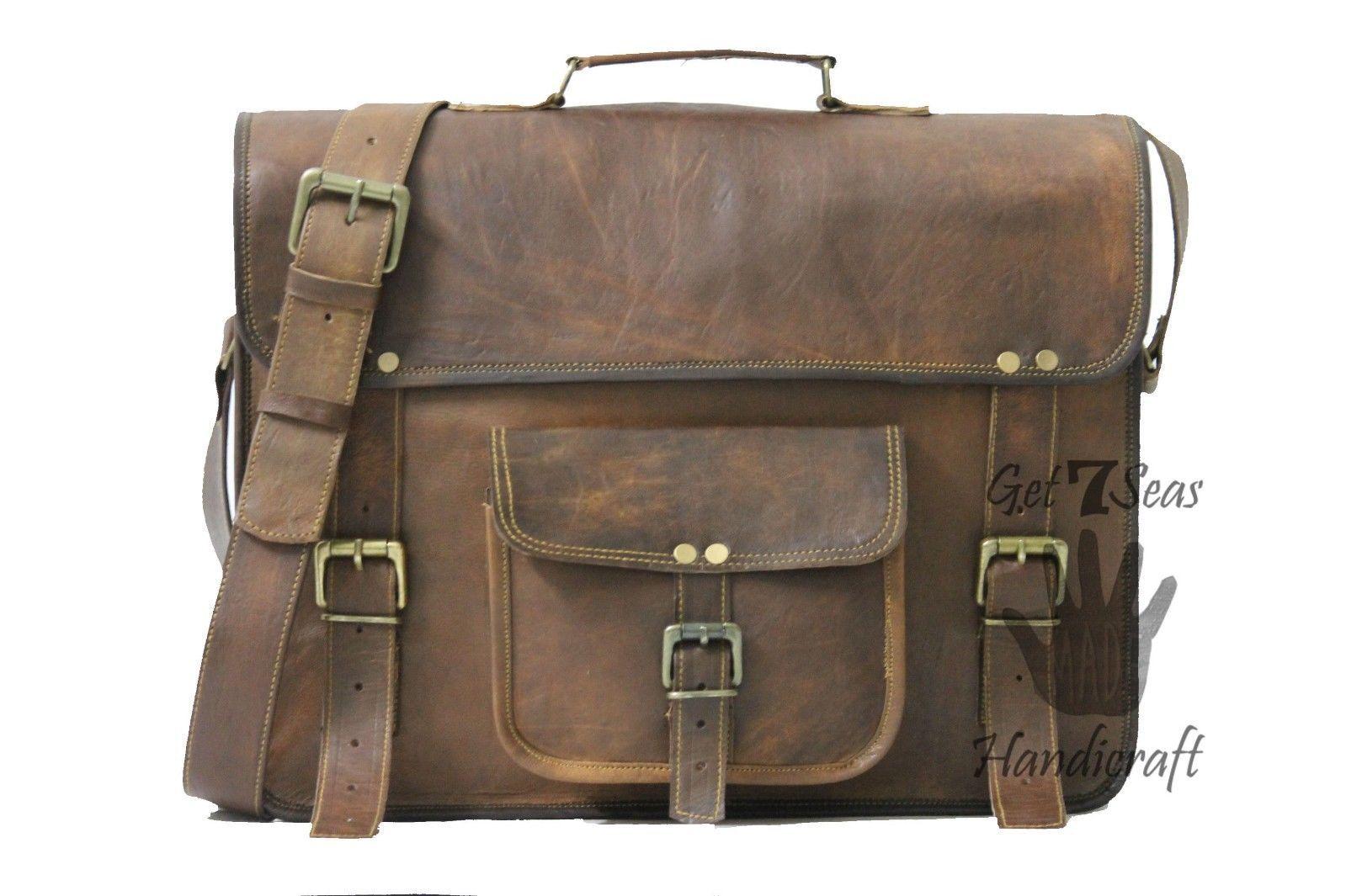 Vintage Leather Messenger Office Brown Laptop Satchel Bag Genuine Briefcase image 2