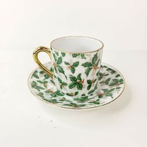 Vintage Inarco E-943 Demitasse Cup and Saucer Porcelain Holly Leaves and... - $27.99