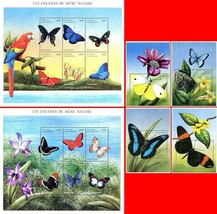 CENTRAL AFRICA 2001 BUTTERFLIES + 5 M/S +6 S/S MNH CV$110.00 INSECTS - $19.80