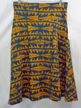 Womens LuLaRoe Azure Skirt Wide Waistband LARGE Dark Blue Very Dark Mustard  NWT - $29.44