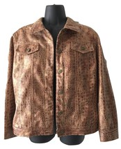 Womens Ruby Rd Saddle Faux Snakeskin Animal Print Blazer Jacket Blouse T... - $49.99