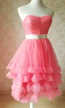 MELON RED Strapless Sweetheart Neck Hi-lo Tiered Tutu Skirt Bridesmaid Dress Cut image 2