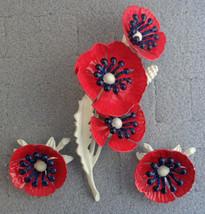 Vintage 1960s Metal & Enamel Flower Pin Brooch Clip Earrings Set Red Whi... - $24.99