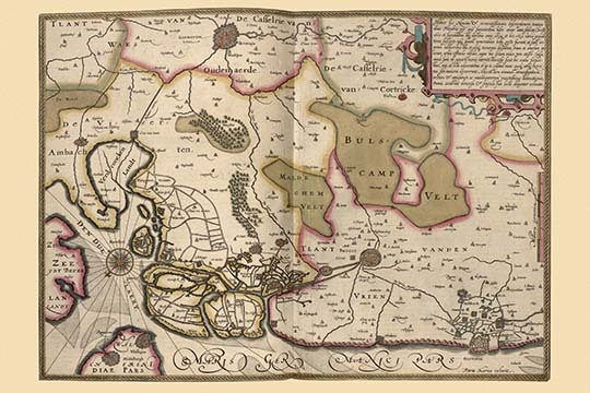 Primary image for Netherlands, Map Zeeland by Pieter Van der Keere - Art Print