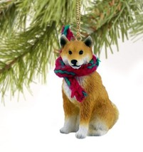 SHIBA INU DOG CHRISTMAS ORNAMENT HOLIDAY Figurine Scarf Gift - $9.50