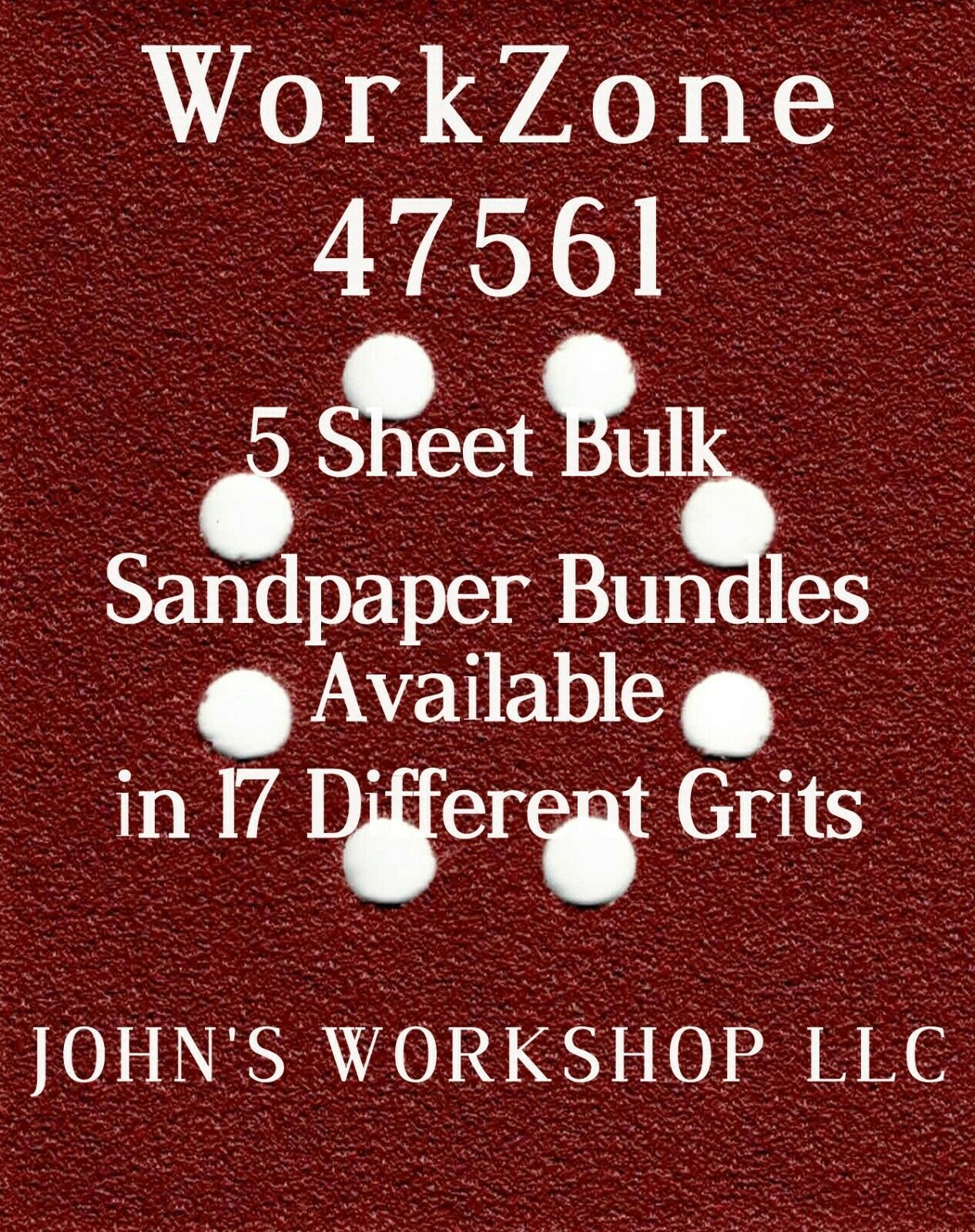 Primary image for WorkZone 47561 - 1/4 Sheet - 17 Grits - No-Slip - 5 Sandpaper Bulk Bundles
