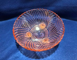 """Anchor Hocking pink prismatic swirl  8.5"""" 3 toed bowl for serving or candy - $9.89"""