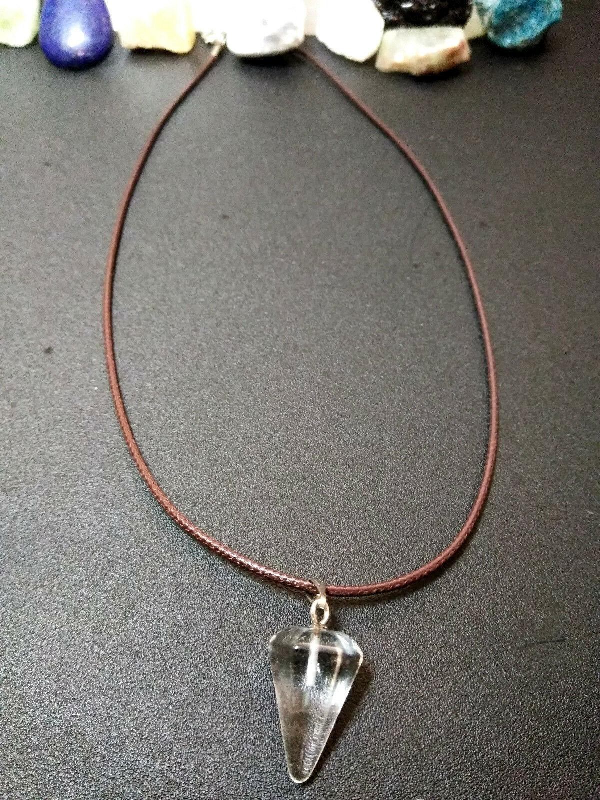 Natural Healing Clear Quartz Pendulum Necklace Women, Men Meditation B Valentine
