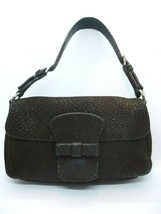 PRADA Brown Textured Leather Baguette - $119.97
