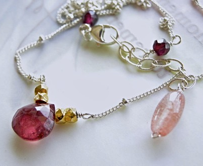 Tourmaline solitaire Garnet Camp Sundance necklace