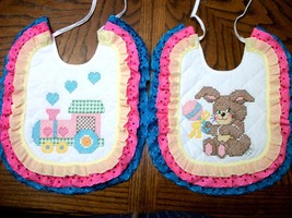 "Bibs Handcrafted XStitched - Decorated & Backed ""BUNNY N' TOYS"" matches ... - $39.99"